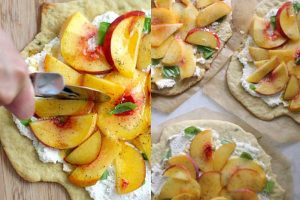 Quick and Easy Peach, Basil, and Ricotta Flatbreads