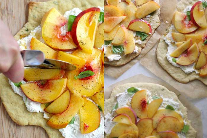 A collage of photos showing different views of a Quick and Easy Peach, Basil, and Ricotta Flatbread recipe.