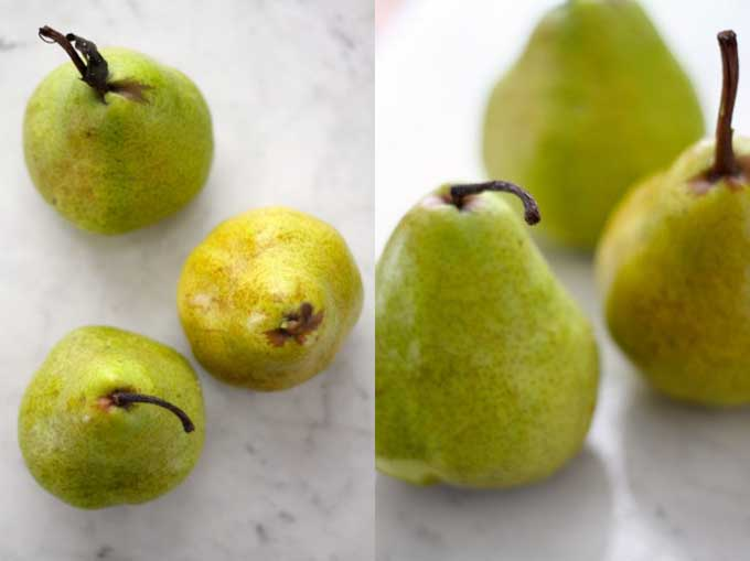 A collage of photos showing various images of green pears for a baked crisp | Foodal