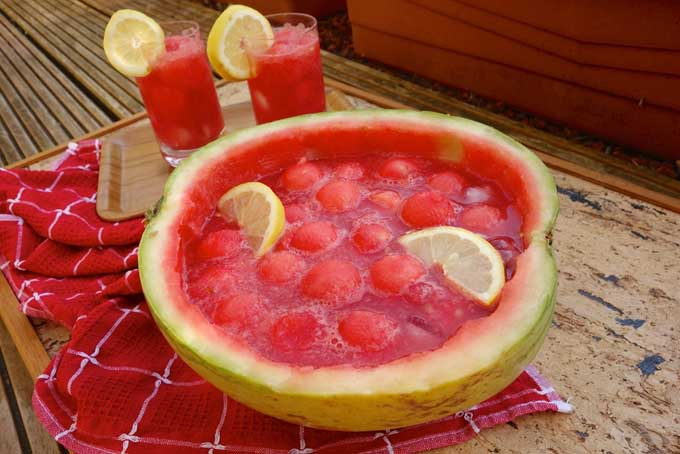 German watermelon Bowle in a hollowed- out fruit, garnished with lemon slices, with two full glasses in the background, on top of a red and white kitchen towel on a brown wood serving tray.