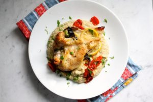Roasted Chicken on Tomatoes with Potato Spaghetti Squash Puree