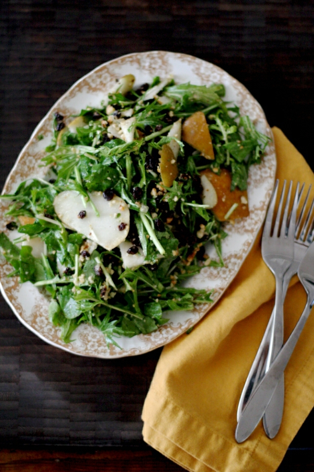 Looking for a healthier and tasty way to celebrate fall? Try this arugula salad topped with Bosc pear, currants, and hazelnuts. Get the full recipe on Foodal now!