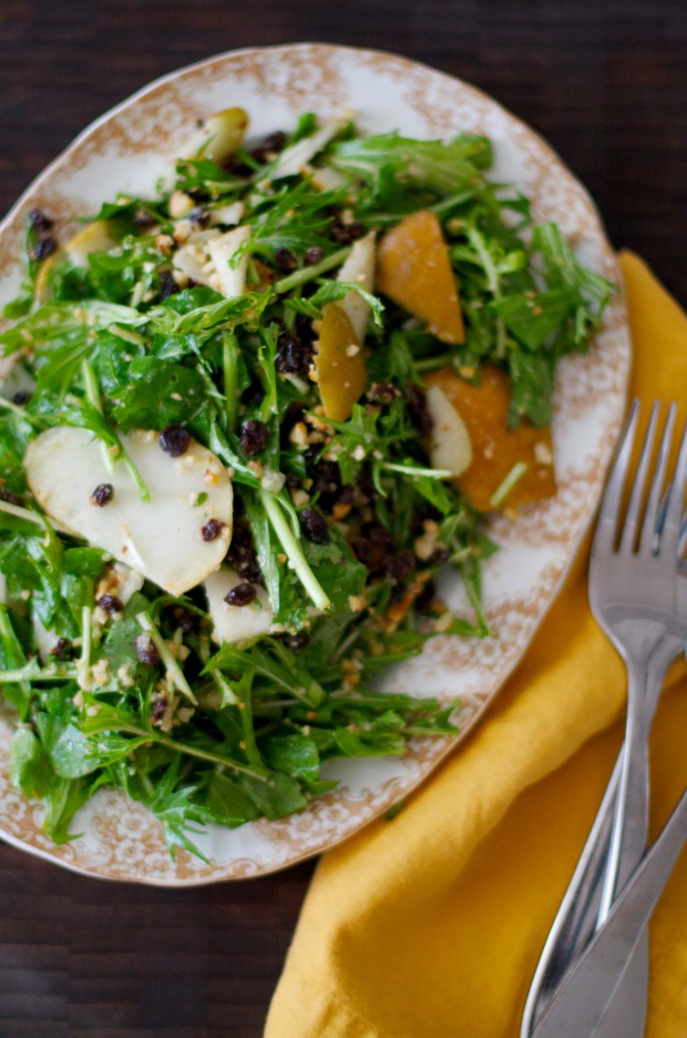 Looking for a autumn inspired salad? Ty this bosc pear, currant and hazelnut mixture spread over delicate leafy greens. Get the recipe now on Foodal.