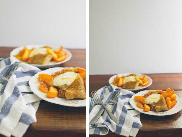 A collage of two photos showing different views of buckwheat crepes.
