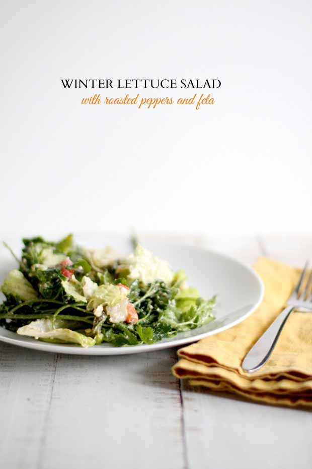 Winter Lettuce Salad with Roasted Peppers and Feta