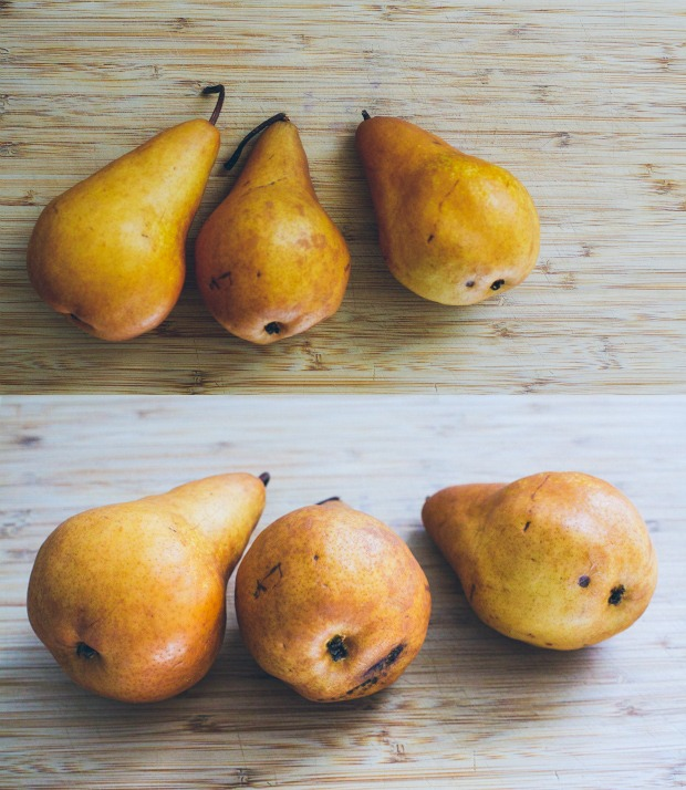Two still life photos of Bosc pears merged into one. | Foodal
