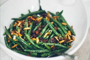 Green Beans with Shallots, Garlic, Toasted Almonds, and Cranberries