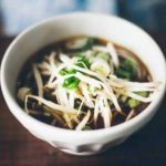 Close up of a bowl of Healthy Balsamic Vegetable Soba Noodle Soup.