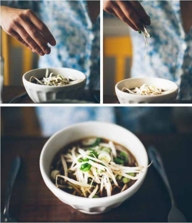 A collage of photos showing different views a Healthy Balsamic Vegetable Soba Noodle Soup for Cold Days.