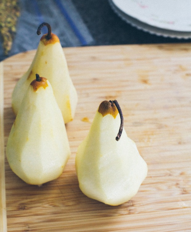 Two pealed Bosc pears for fruit stack recipe | Foodal