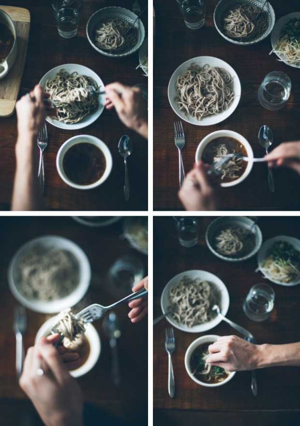 A collage of photos showing human hands adding soba noodles and toppings to a soup base.