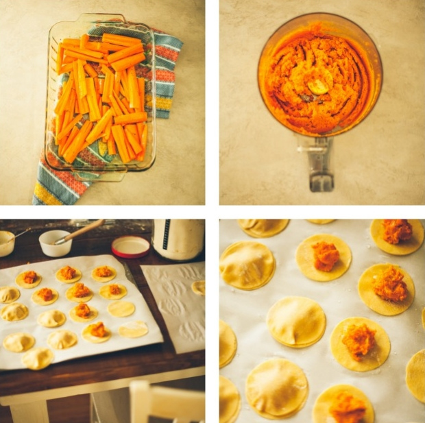 A collage of photos showing different view of ravioli being stuffed with roasted carrot puree | Foodal