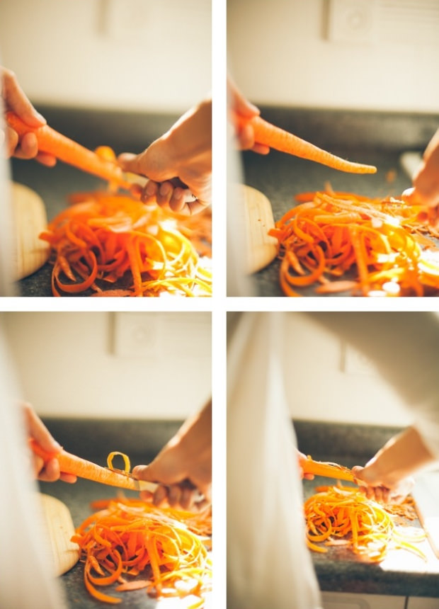 A collage of photos of carrots being peeled | Foodal