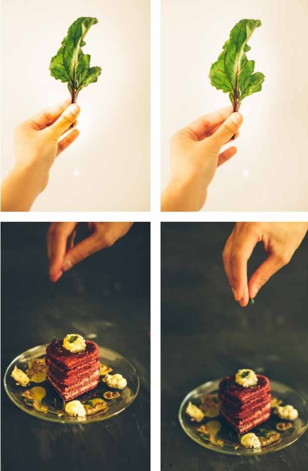 A collage of four images, two of a hand holding a beet leaf up against a white background, another of a hand sprinkling seasonings on top of a plate of beet patties on a black background.