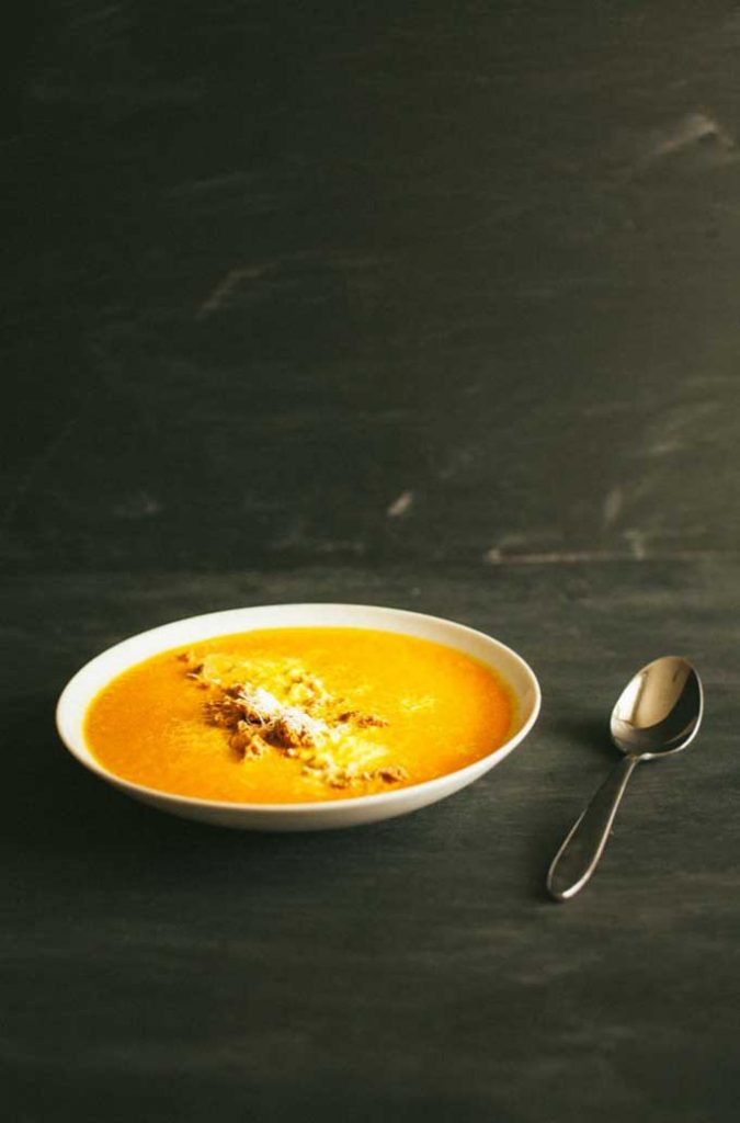 This silky carrot soup is topped with amaretti cookie crumbles and Pecorino cheese. So good and so creamy. Get the recipe now and make your tastebuds light up.