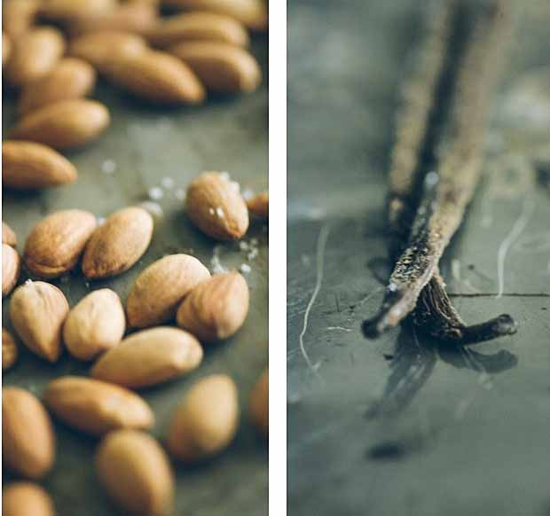 A collage of two photos showing close ups of crunch almonds and whole vanilla beans.