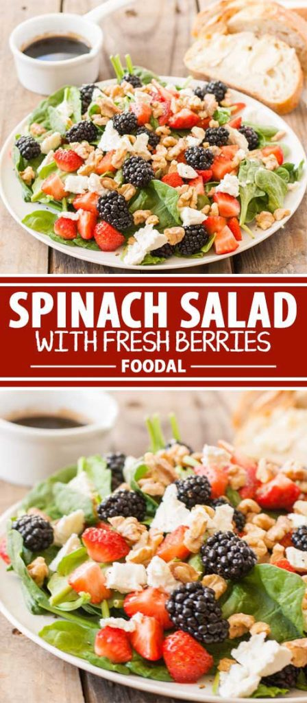 A collage of photos showing different views of a spinach salad with fresh berries.