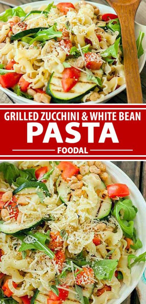A collage of photos of different views of a grilled zucchini and white bean pasta salad recipe.