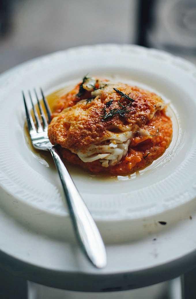Pecorino-Encrusted Cod in Brown Butter Dill & Carrot Potato Mash