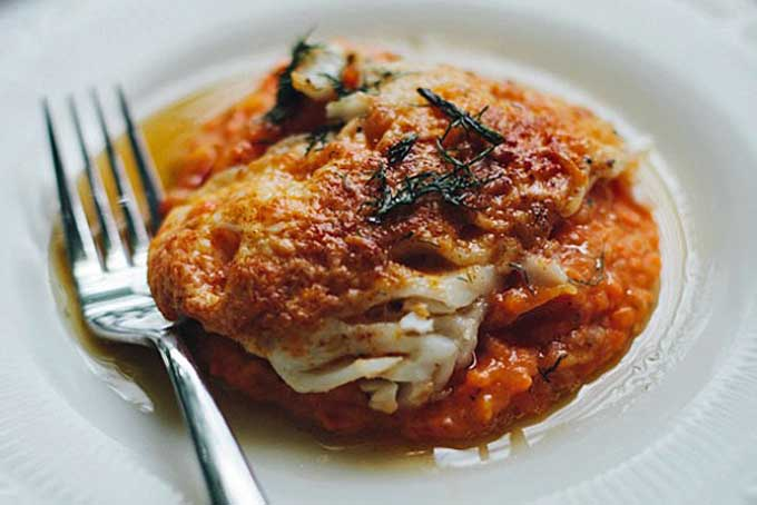 Pecorino Cod with Carrot Mash | Foodal.com