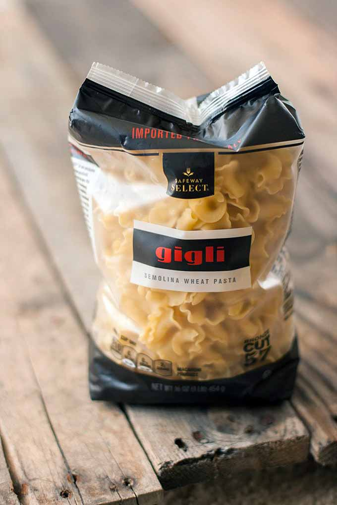 A bag of gigli or campanelle style semolina wheat pasta.