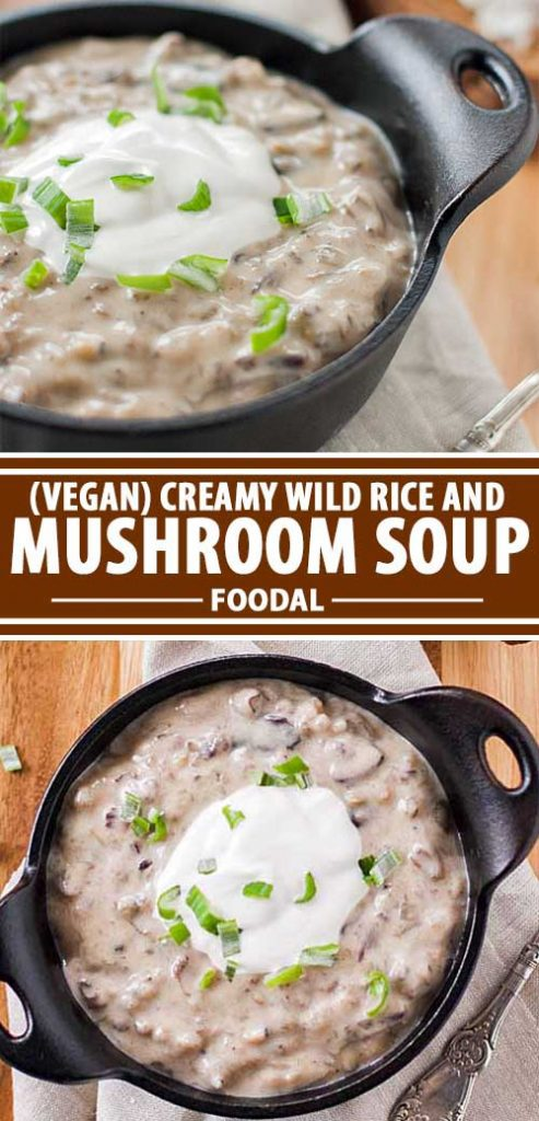 A collage of photos showing different views of bowls of vegan creamy wild rice and mushroom soup.