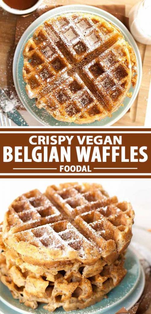 A collage of photos showing different views of a vegan Belgian waffle made with flax seed instead of eggs.