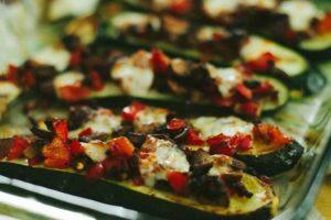 Zucchini Mushroom Pepper Boats with Mozzarella