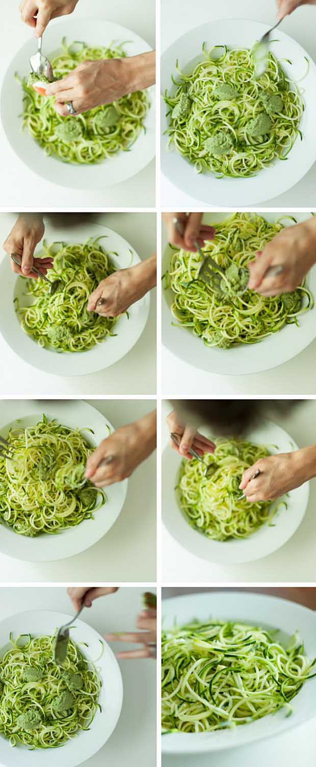 A collage of photos showing the make of the zucchini spaghetti step-by-step.