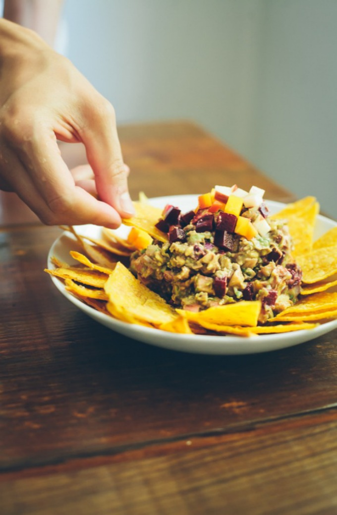Rainbow Guacamole with Beets and Apples 4
