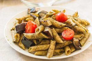 Caramelized Eggplant and Pesto Pasta: Vegan-Friendly Comfort Food