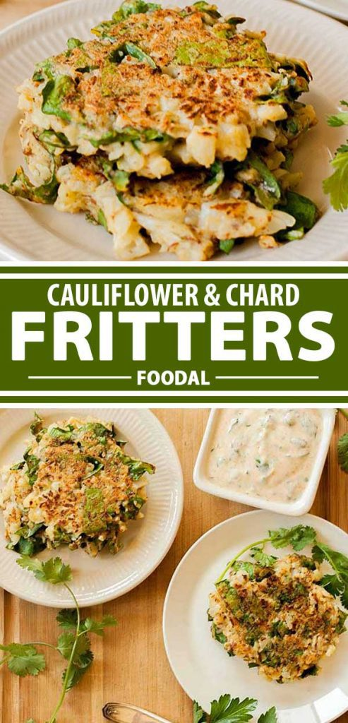 A collage of photos showing different views of a homemade cauliflower and chard fritter.