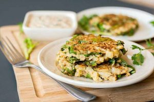 Cauliflower and Chard Fritters with Spicy Yogurt Cilantro Sauce