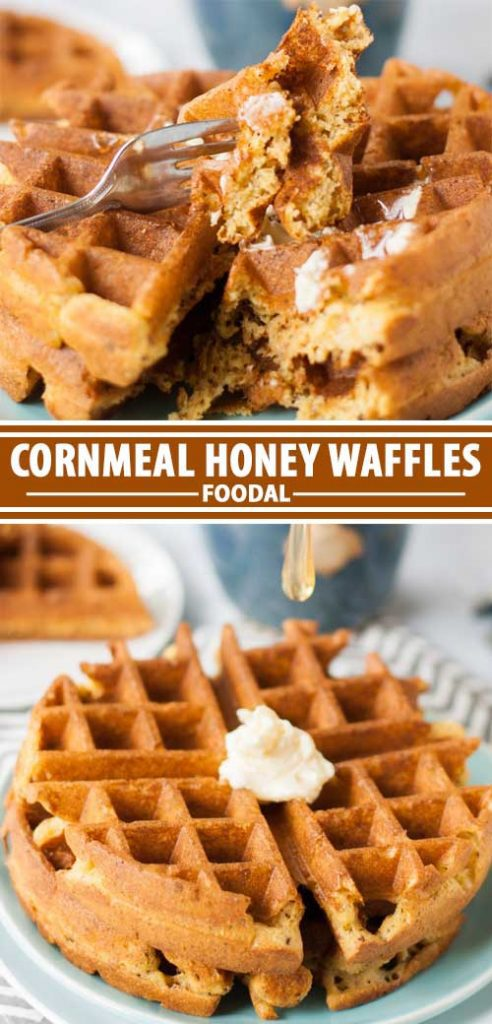 A collage of photos showing different views of a cornmeal honey waffle recipe.