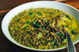 French Lentil Soup with Spices and Chard