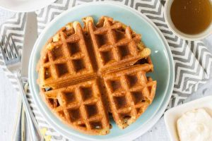 Cornmeal Honey Waffles with Whipped Honey Butter (Dairy & Egg-Free Options)
