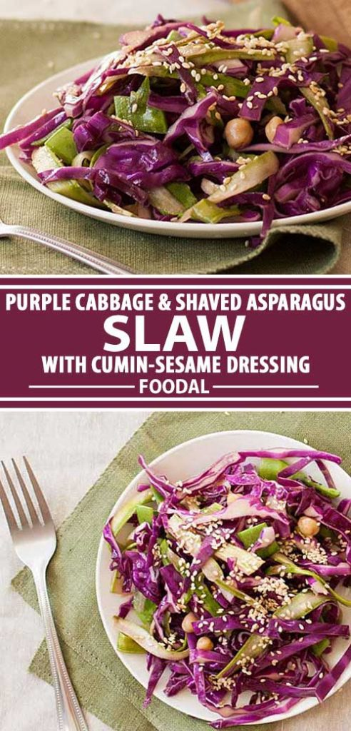 A collage of photos showing different views of a purple cabbage and shaved asparagus coleslaw recipe.