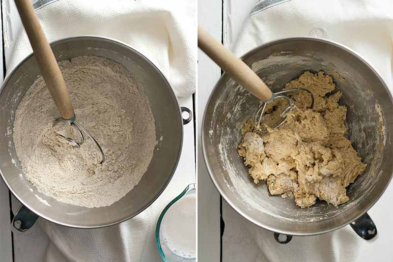 Two side-by-side photo of dry ingredient, and a photo of a lumpy batter, with wooden spoons.