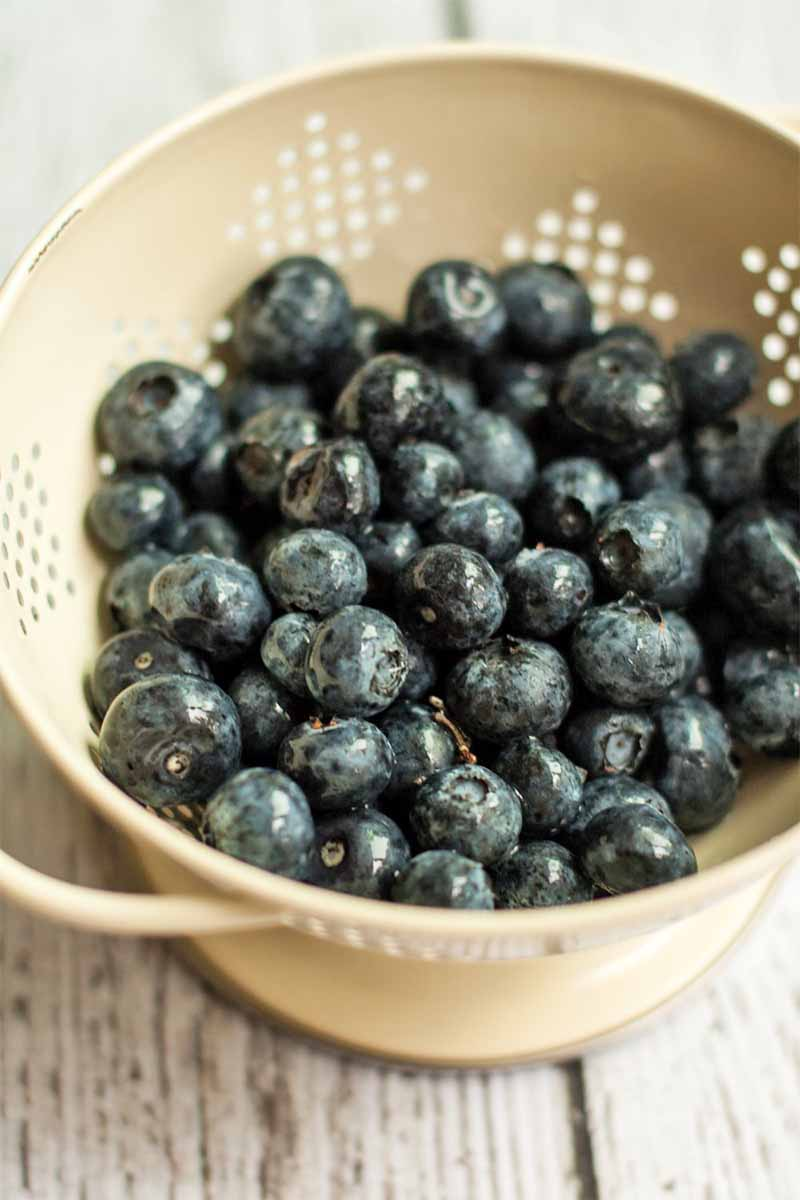 An off-white metal colander filled with fresh blueberries, on a whitewashed wood surface.