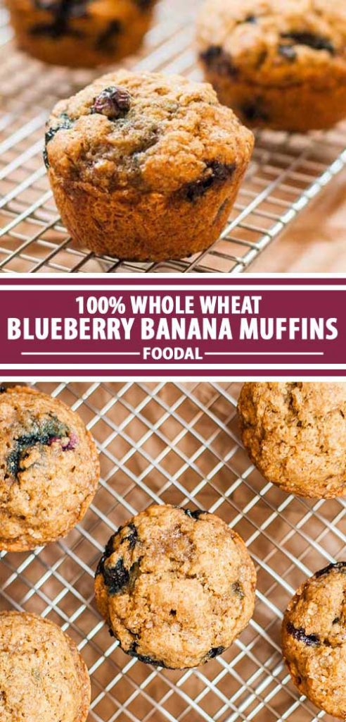 A collage of photos showing different views of complete whole wheat blueberry and banana muffin recipe.