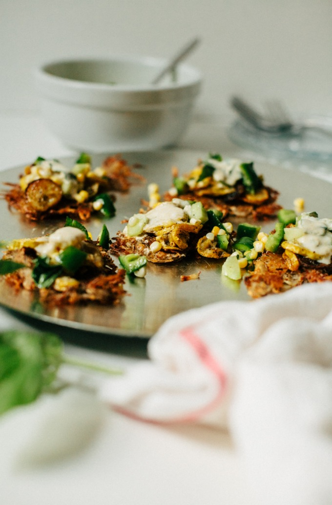 Potato Fritters with Roasted Squash, Cucumber Salad and Cumin Yogurt Sauce