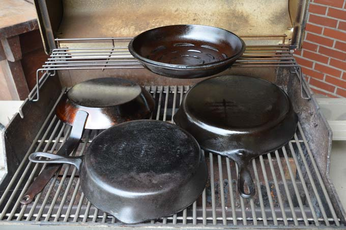 Seasonin Cast Iron in a Gas BBQ Grill