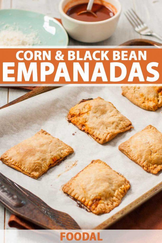 A batch of corn and black bean empanadas on baking tray.