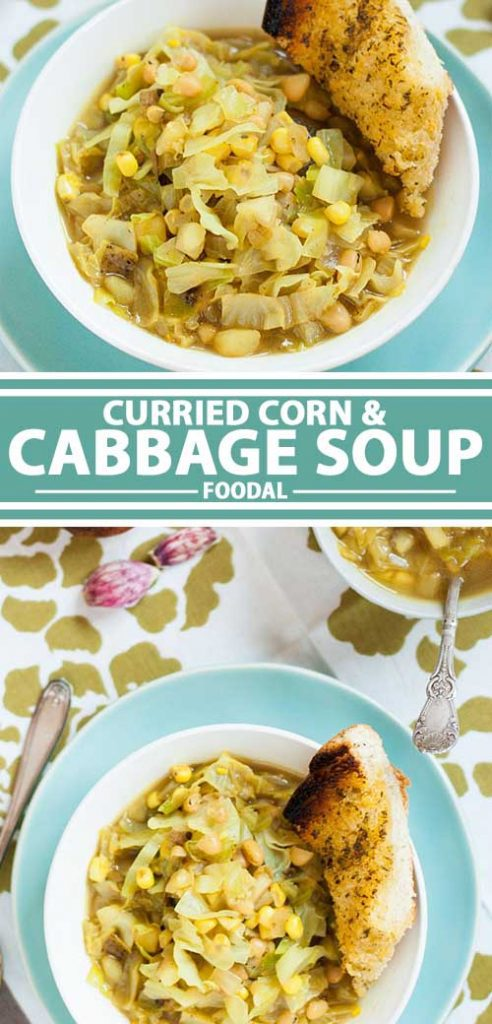 A collage of photos showing different views of a curried cabbage corn soup.