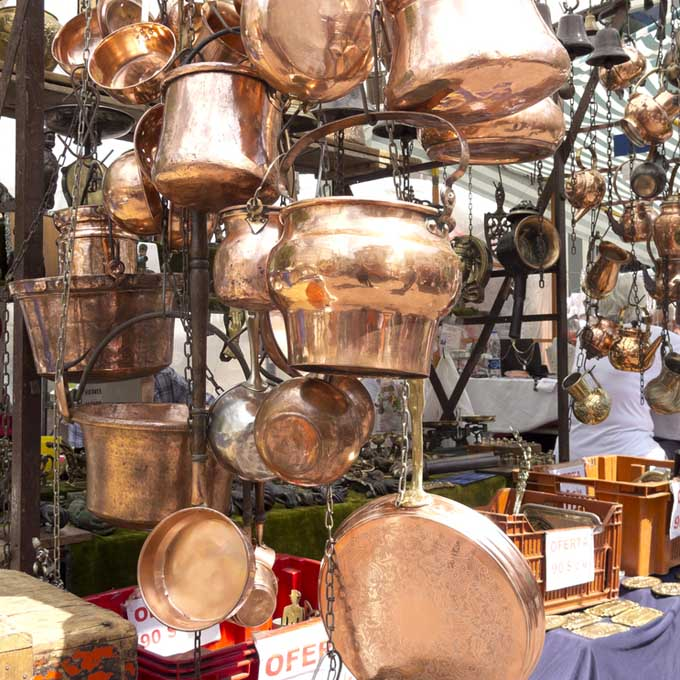 Copperware at a fleemarket in Nice France
