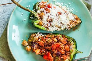 Vegetarian Grilled Stuffed Poblano (Pasilla) Peppers