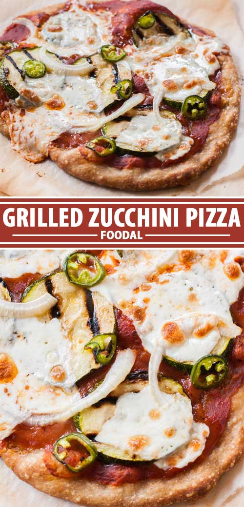 A collage of photos showing different views of a vegetarian grilled zucchini pizza.