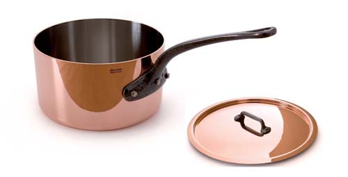 Mauviel M'Heritage Copper M250C 2.5-Quart Saucepan with Lid Cast and Iron Handle - Foodal.com
