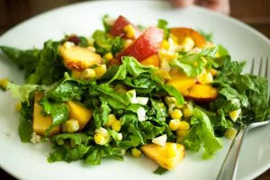 Peach and Corn Salad with Fresh Mint and Lime