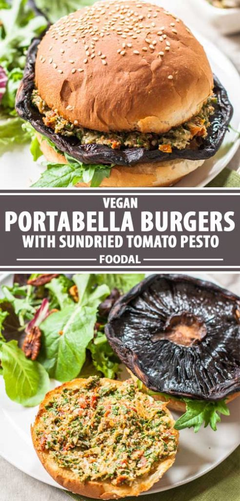 A collage of photos showing different views of a vegan- friendly portabella mushroom burger.